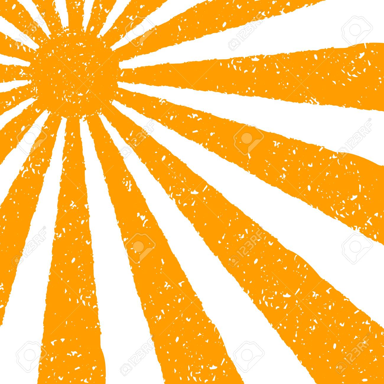 orange sun background hand painted with oil pastel crayons