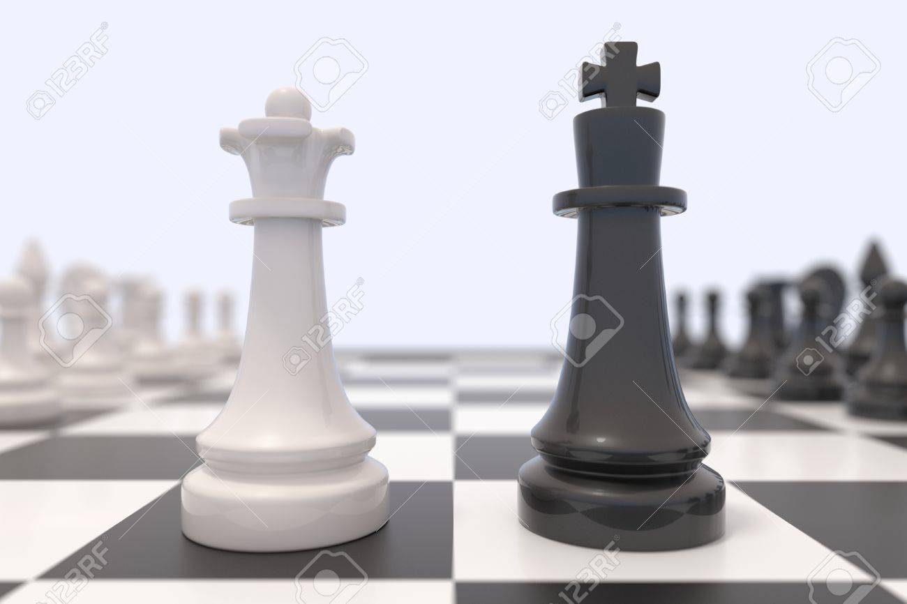 Two chess pieces on a chessboard black king and white queen facing each other
