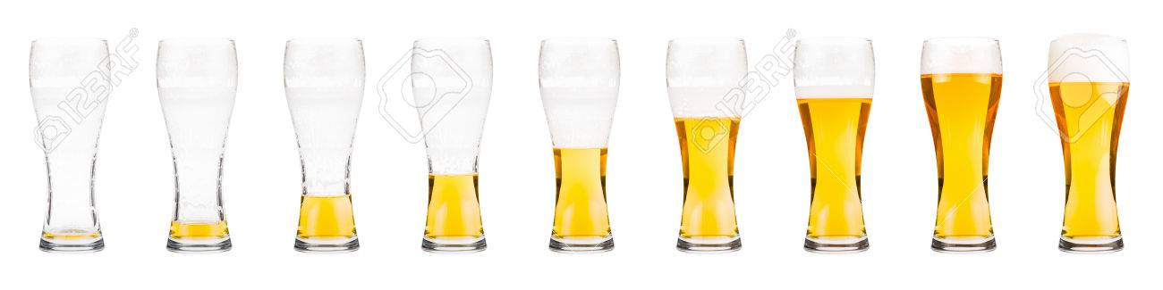 Glasses with beer showing a drinking sequence. - 55292527