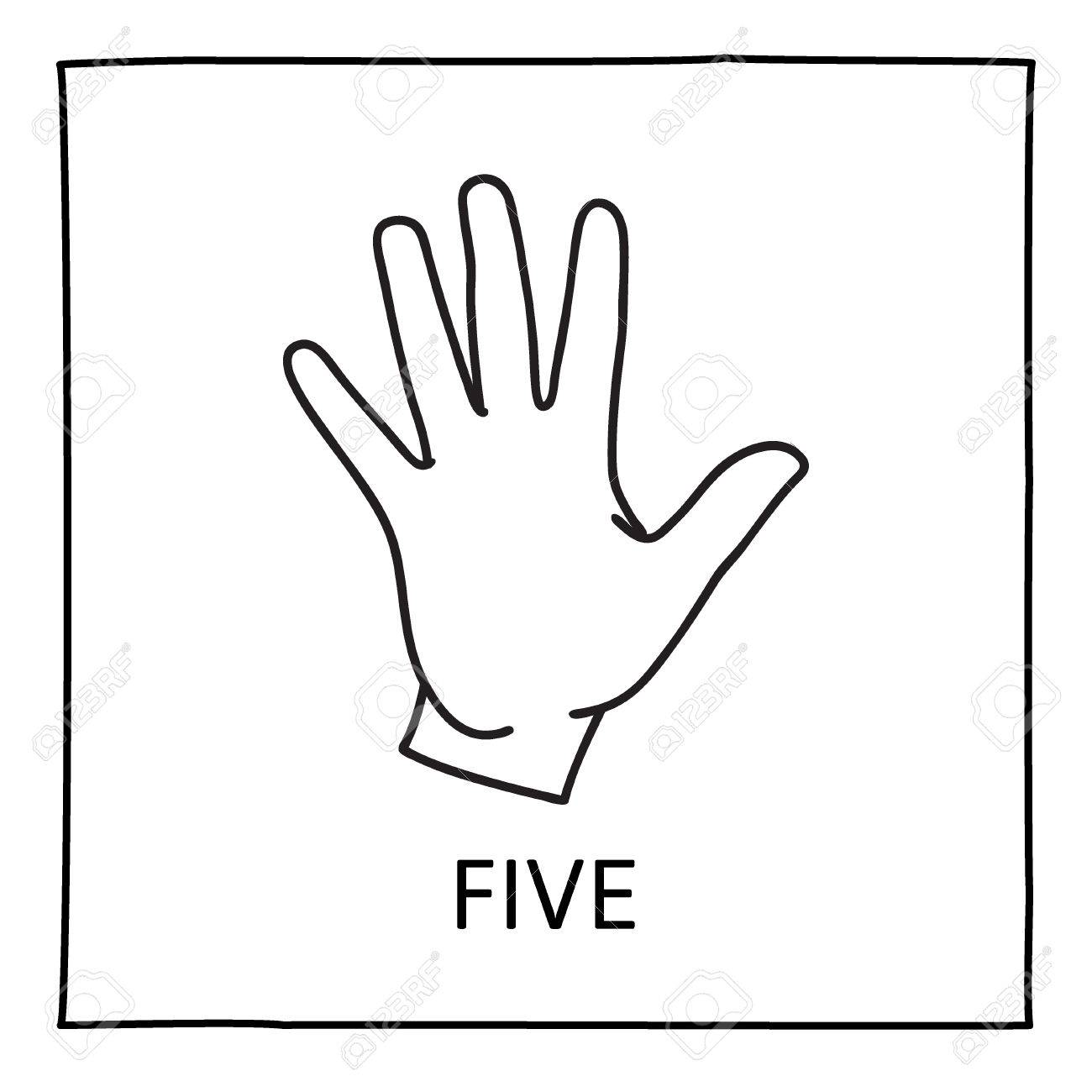 doodle palm icon counting hands showing five fingers graphic