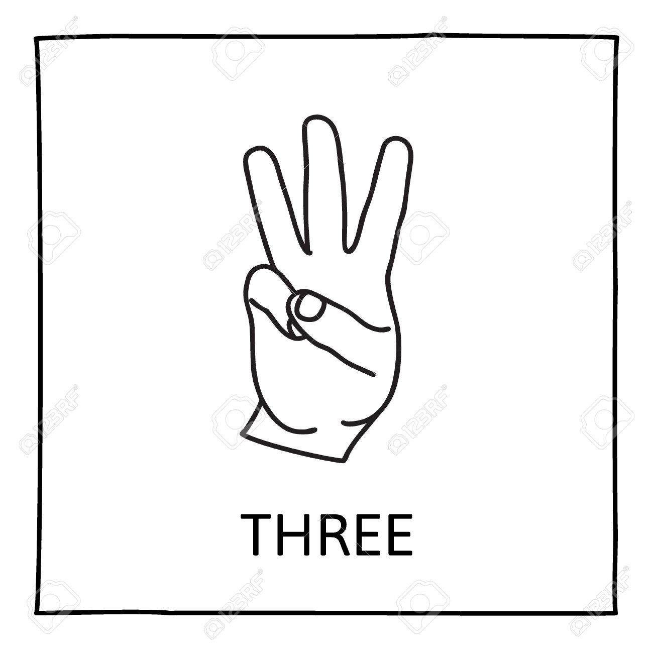 doodle palm icon counting hands showing three fingers graphic