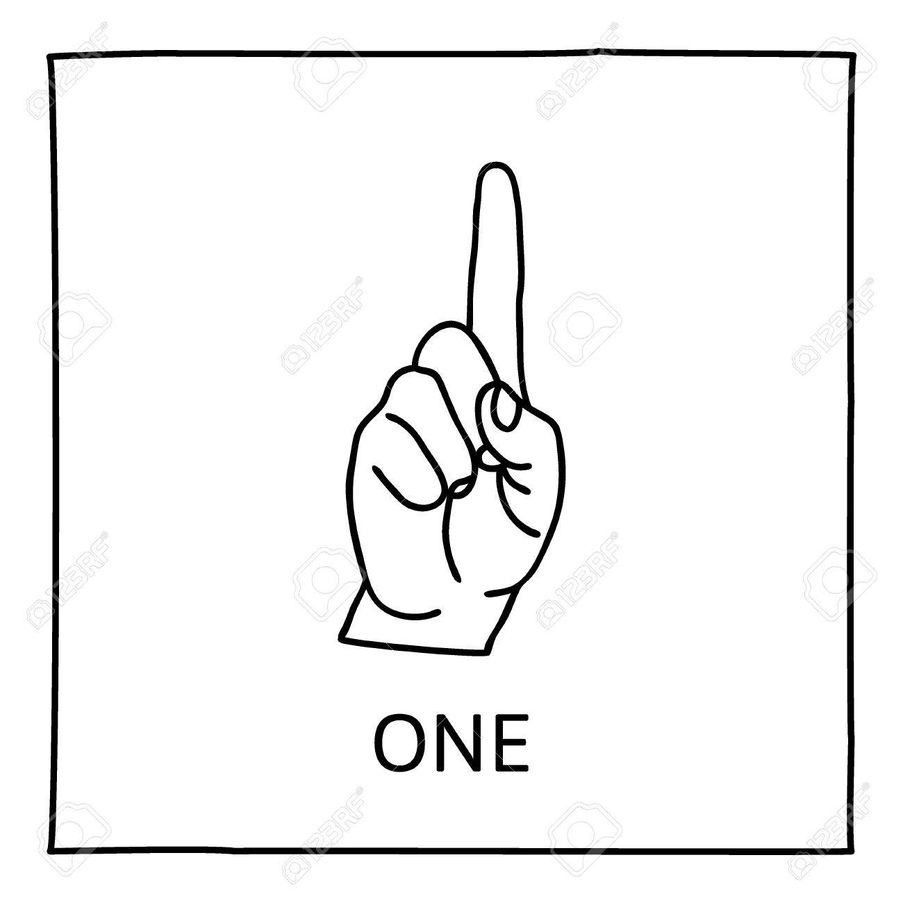 doodle palm icon counting hands showing one finger graphic