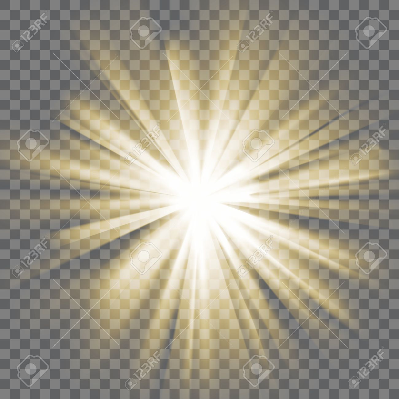Yellow Glowing Light Sun Rays Bursting Explosion Transparent Background Of
