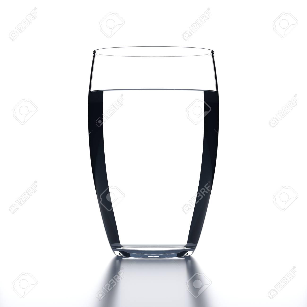 2c86b8b0cfa Full Water Glass on white background. Drinking glassware. 3D illustration.  Stock Illustration -