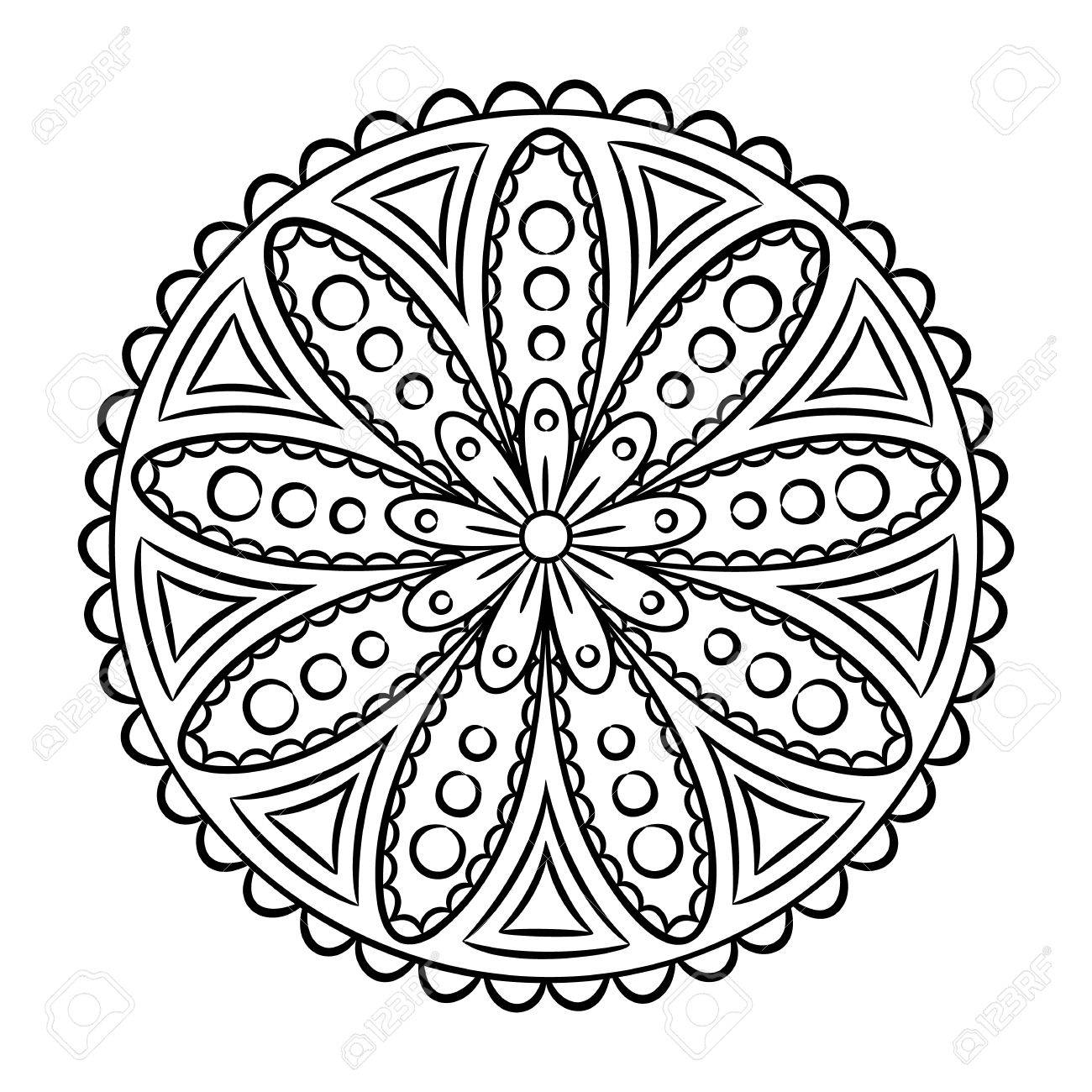doodle mandala coloring page outline floral design element coloring book pattern decorative round - Flower Outline Coloring Page