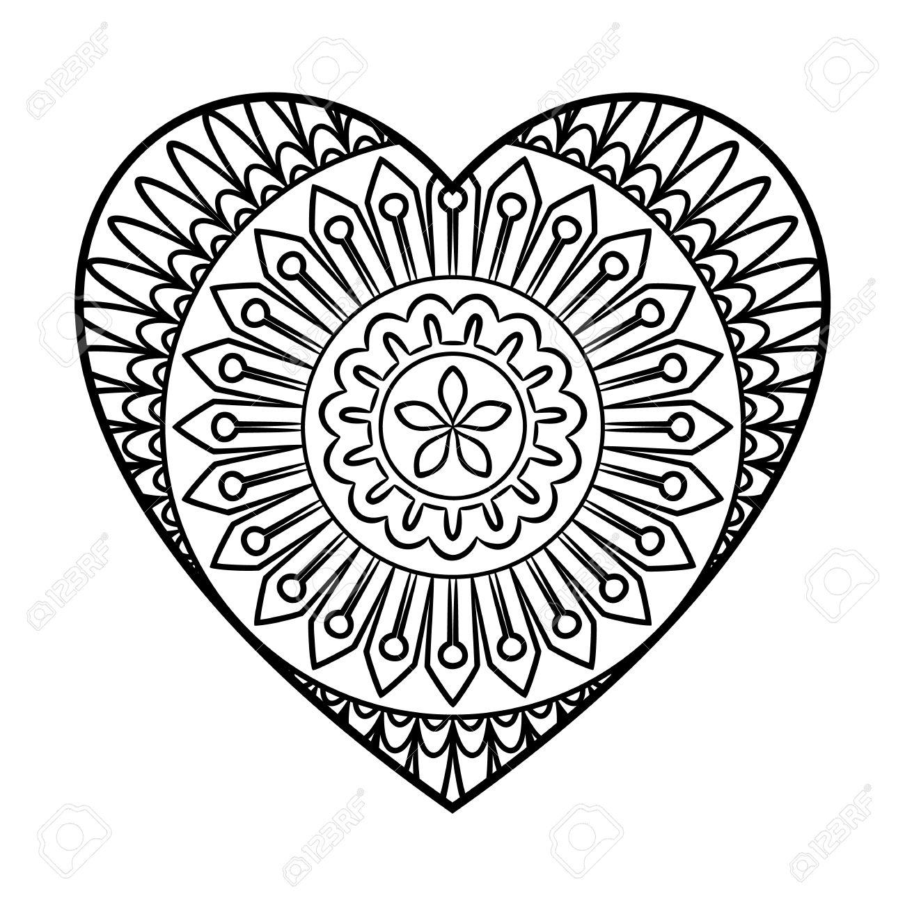 Doodle Coloriage mandala de coeur Outline floral élément de design en forme de coeur