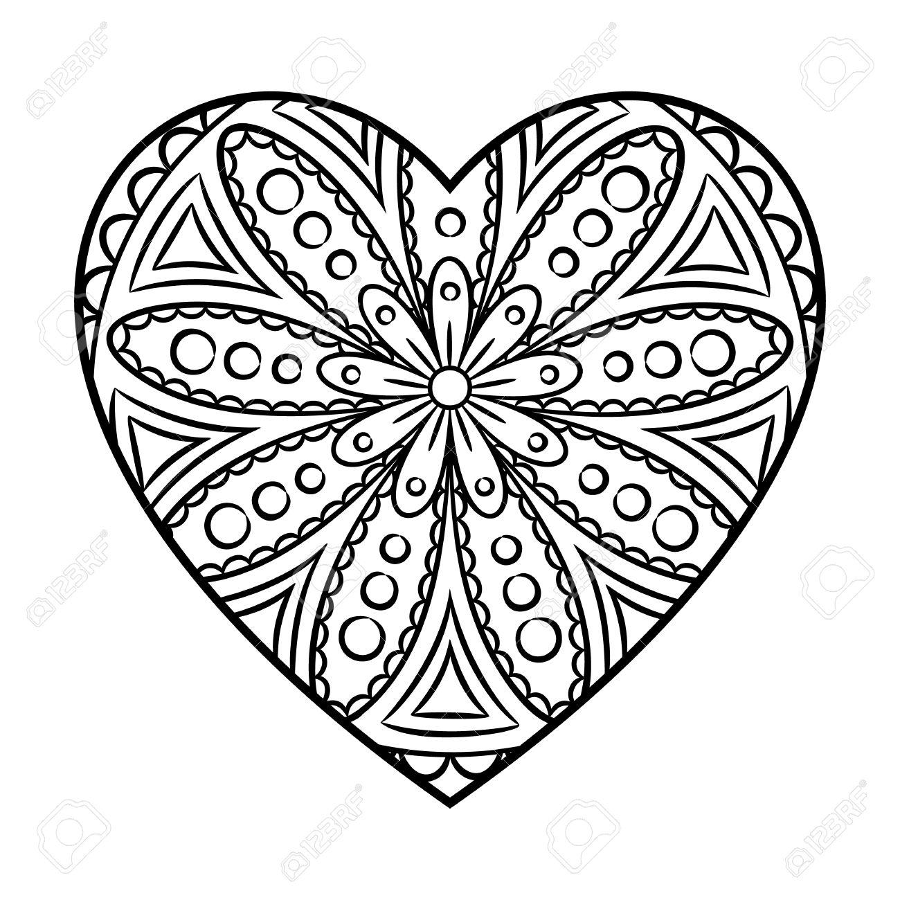 Doodle Coloriage Mandala De Coeur Outline Floral Element De Design