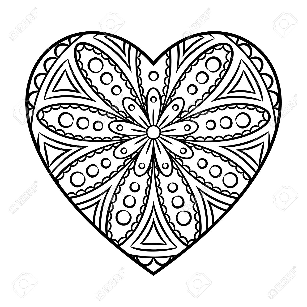 Doodle Heart Mandala Coloring Page. Outline Floral Design Element In A  Heart Shape. Coloring