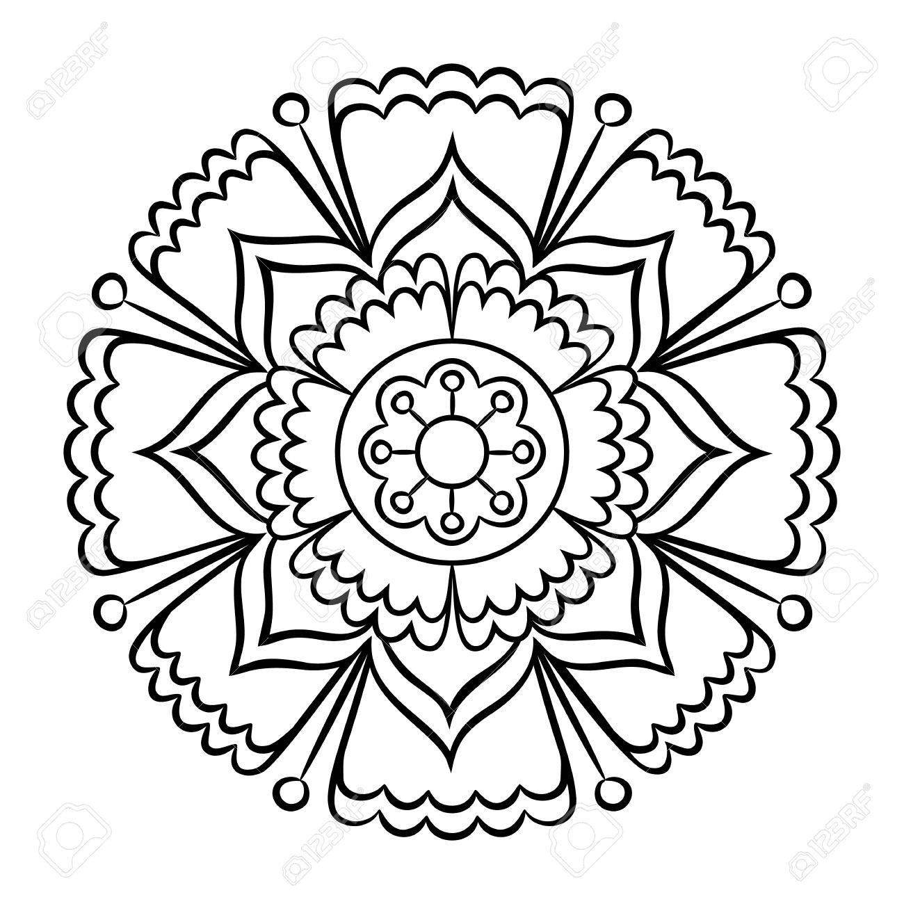 Colorear Mandala De Doodle. Esquema Elemento De Diseño Floral. El ...