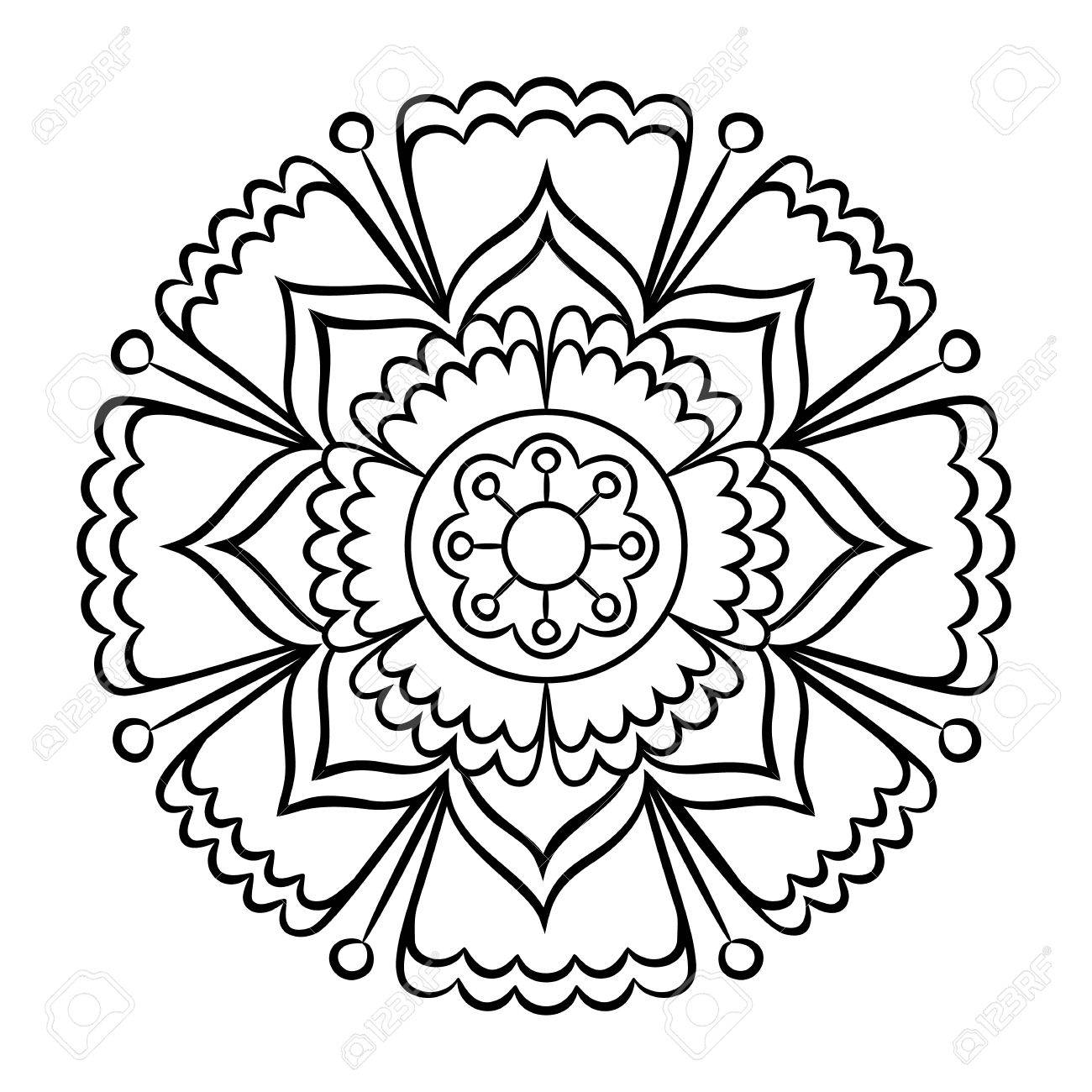 Doodle Mandala Coloring Page. Outline Floral Design Element ...