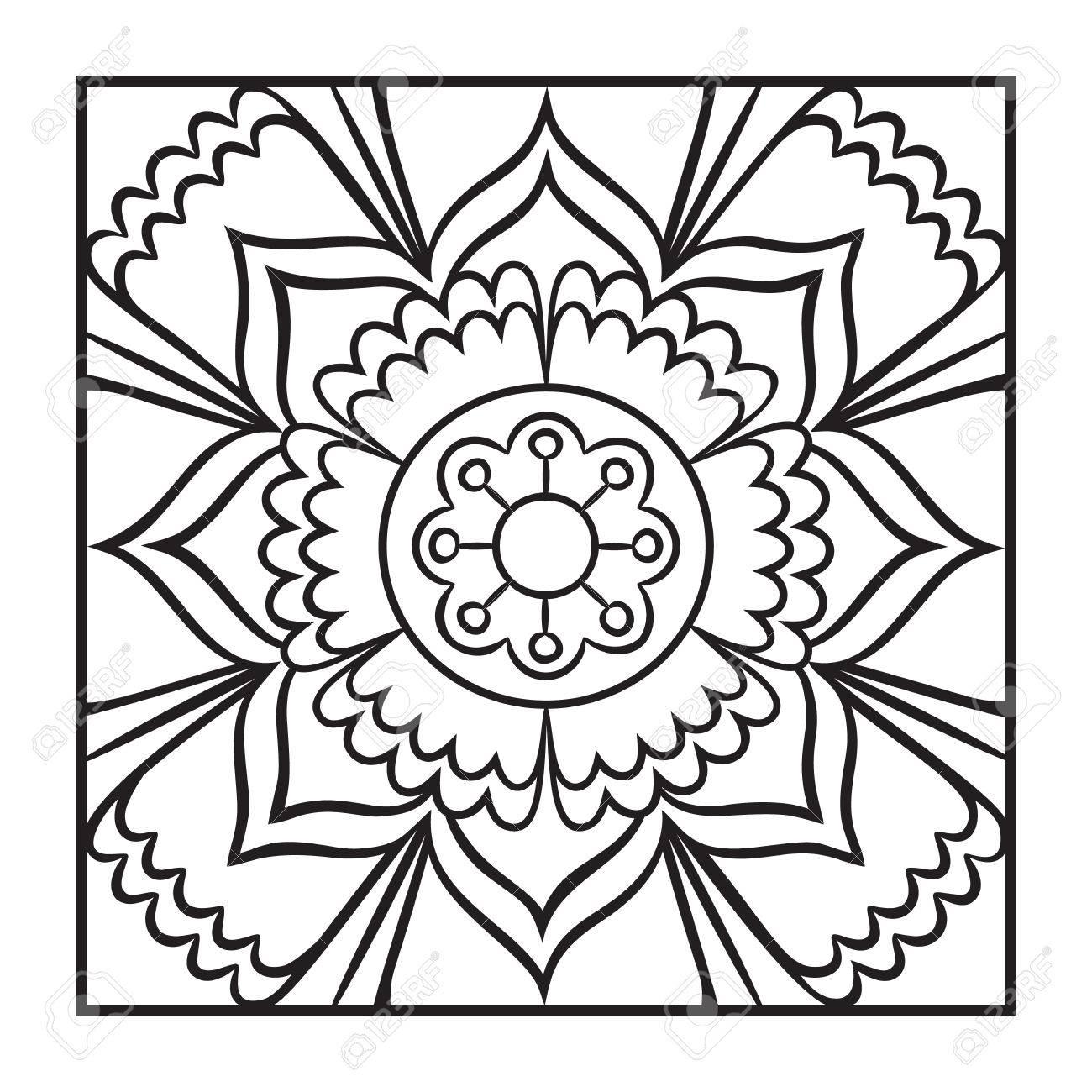 Doodle mandala coloring page. Outline floral design element...