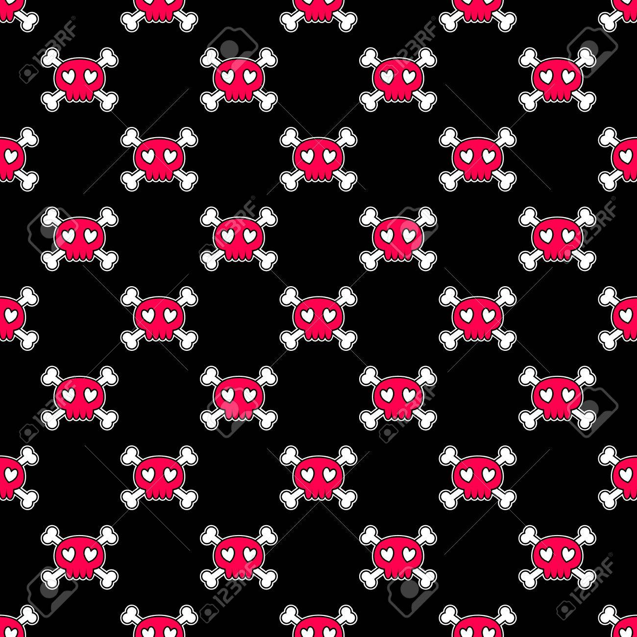 Seamless Halloween Pattern Wallpaper With Pink Skulls On Black