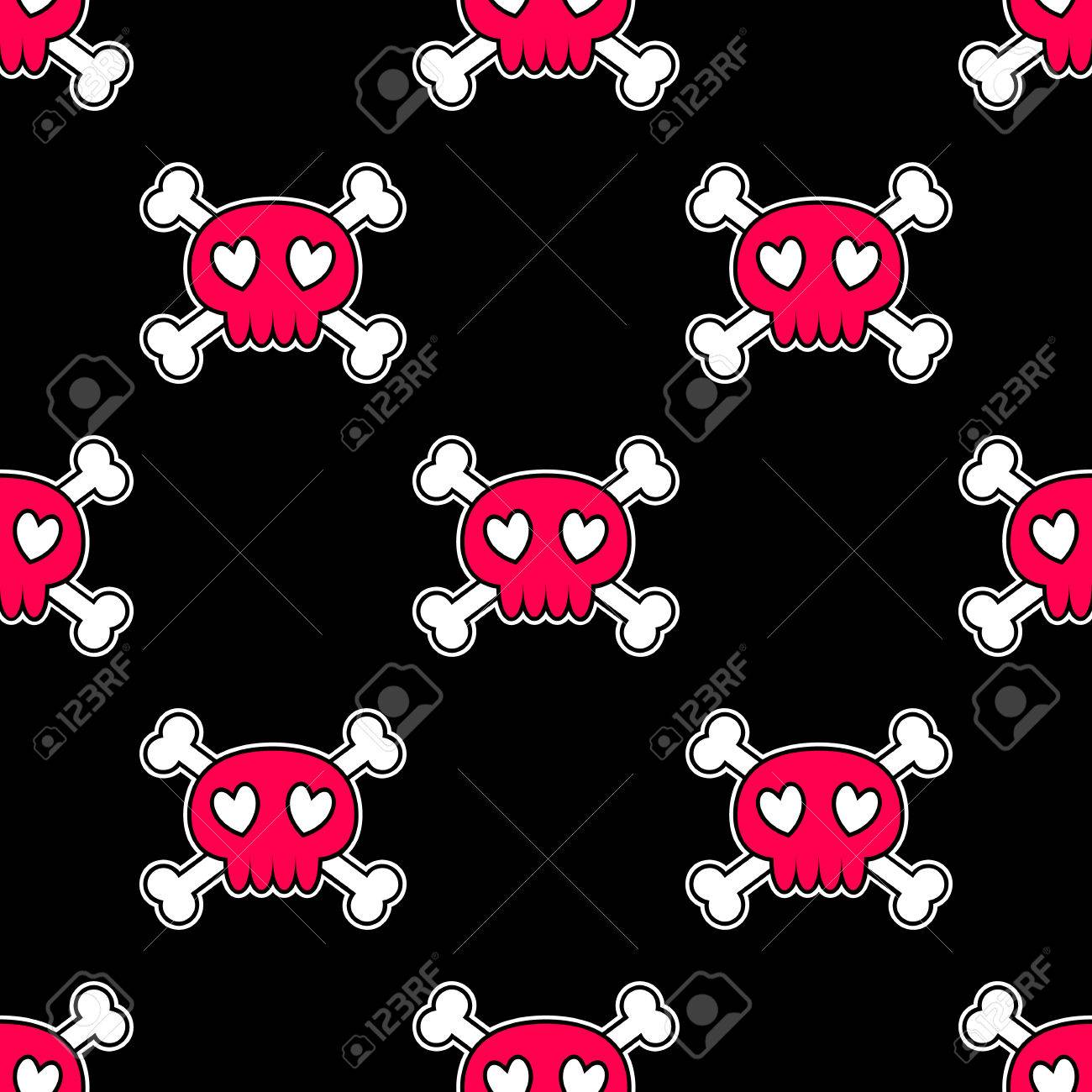 Seamless Halloween Pattern Wallpaper With Pink Skulls On Black Background Tileable Backdrop With Halloween