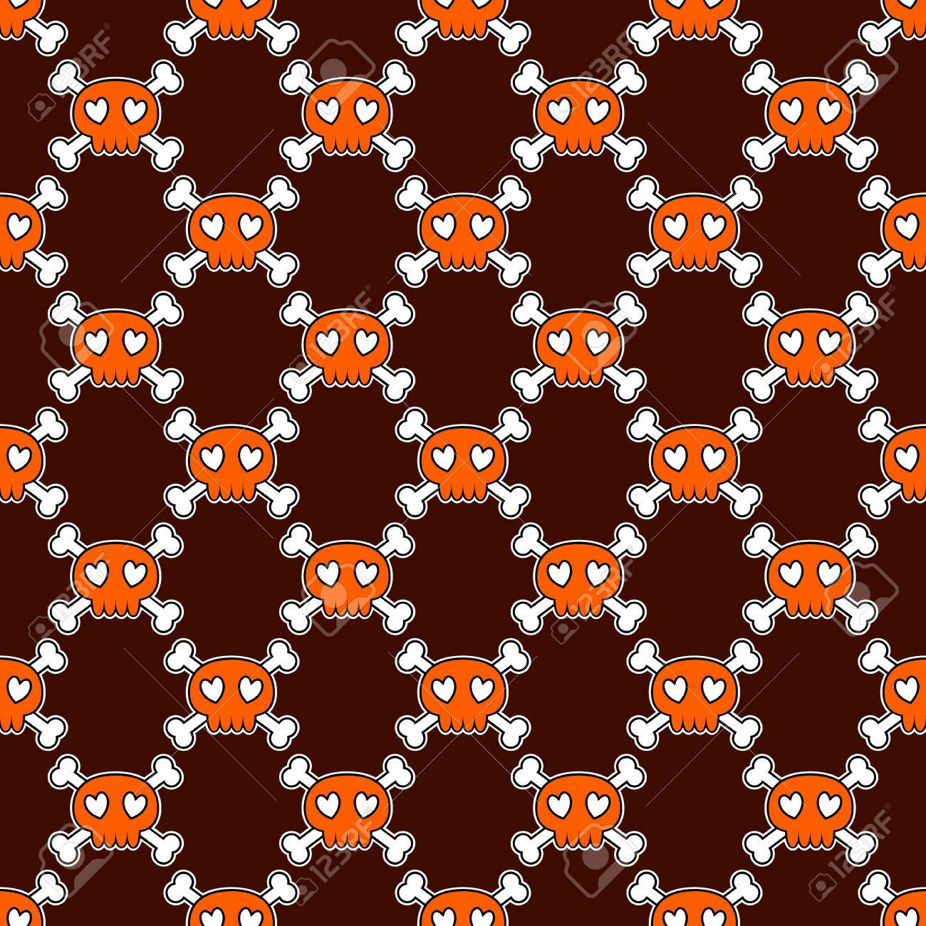 Popular Wallpaper Halloween Skull - 64216487-seamless-halloween-pattern-wallpaper-with-orange-skulls-on-brown-background-tileable-backdrop-with-h  You Should Have_481215.jpg