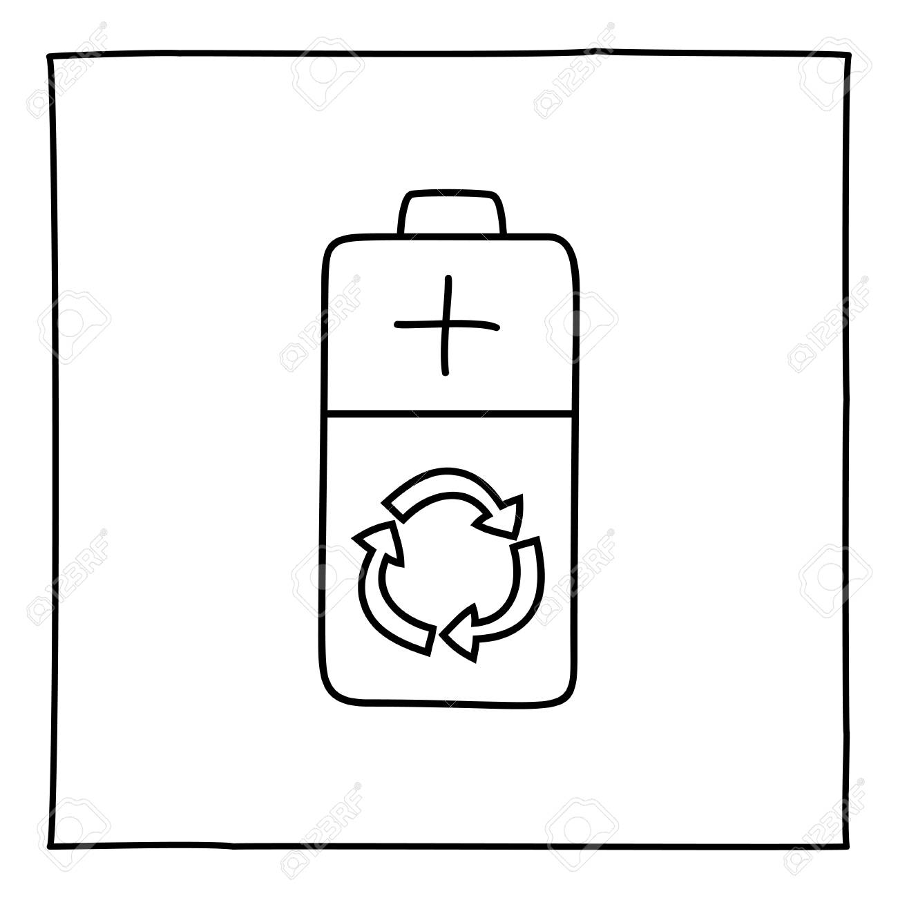Doodle Eco Battery Icon. Black And White Symbol With Frame. Line ...