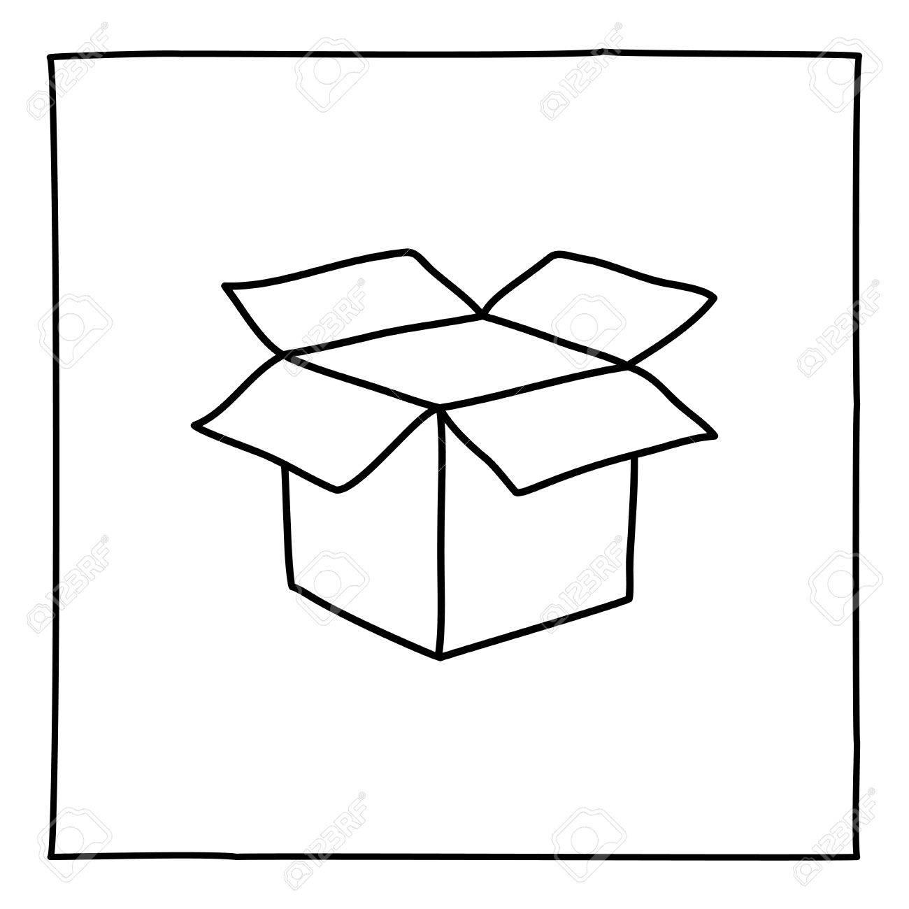 Doodle Open Box Icon. Zwart-wit Symbool Met Frame. Line Art Style ...