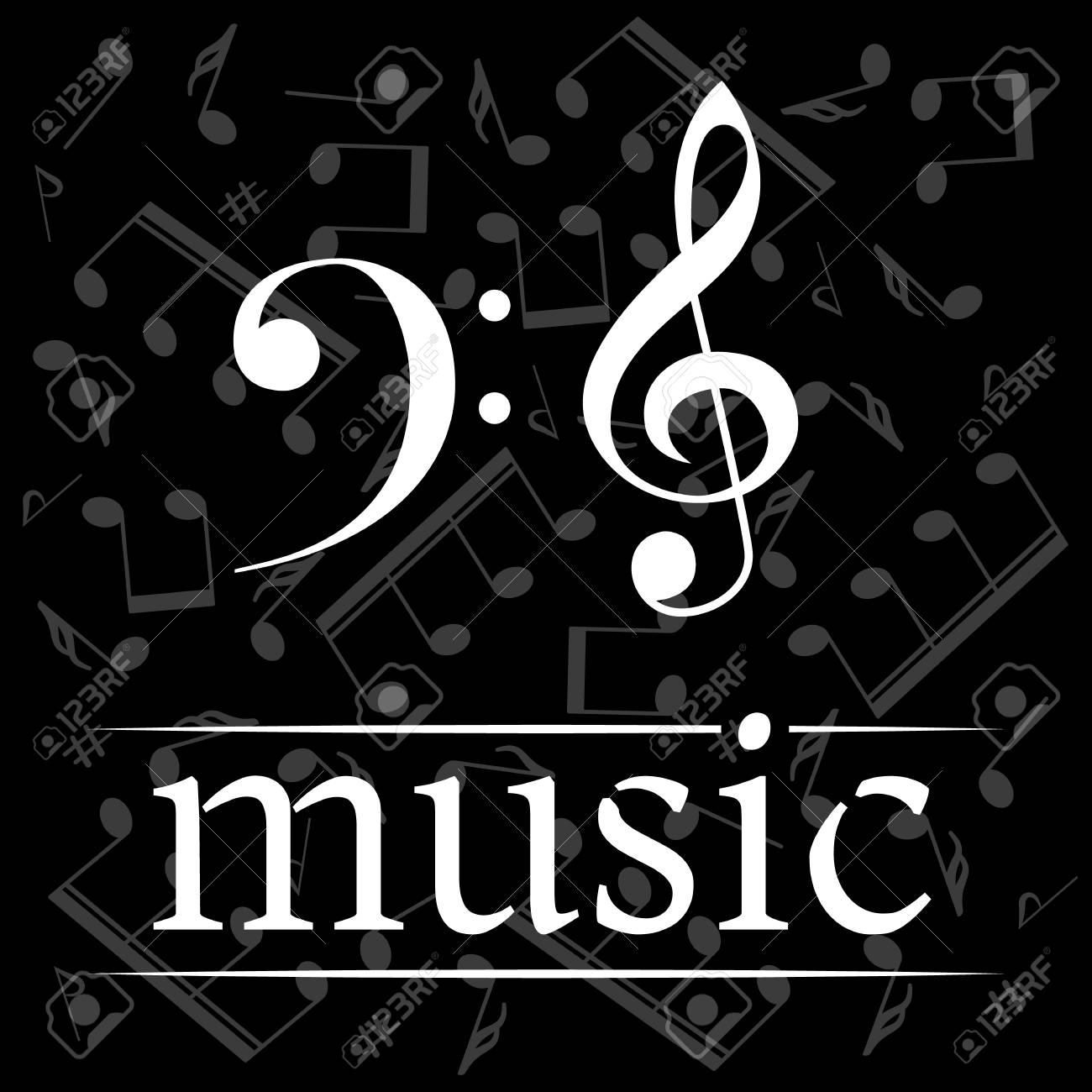 Cartel De La Música Con Clave De Sol Y Clave De Fa Fondo Musical