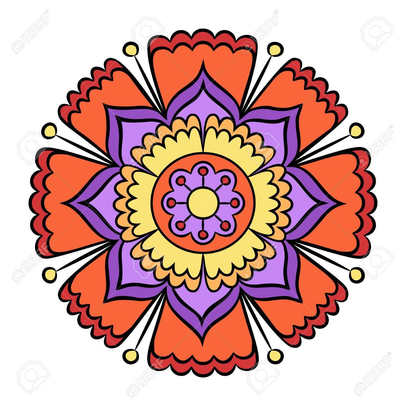Fleur De Doodle Boho Et Mandala De Style Ethnique Art Décoratif Coloré Pour Des Cartes Danniversaire Invitations De Mariage Et De Douche De Bébé
