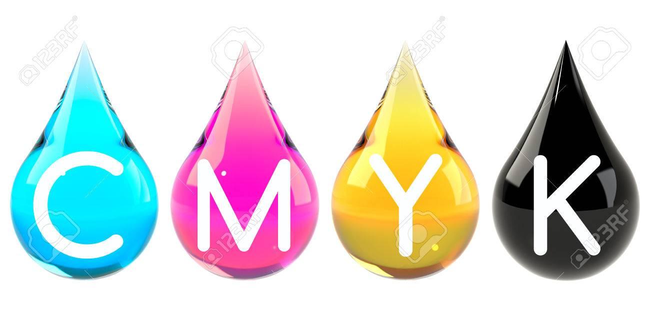 Cmyk Color Scheme Set Cyan Magenta Yellow Black Drops Set