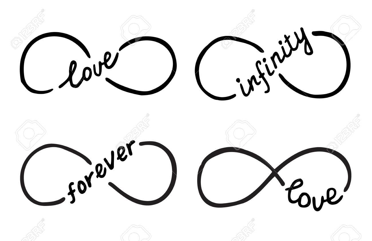 Símbolos Infinitos Con Palabras Amor Infinito Para Siempre