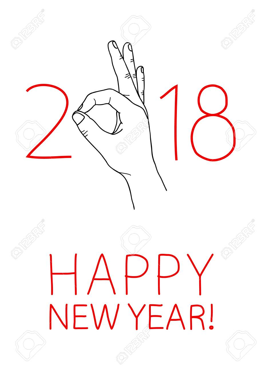 Happy 2018 New Year Graphic Design Element For Greeting Card