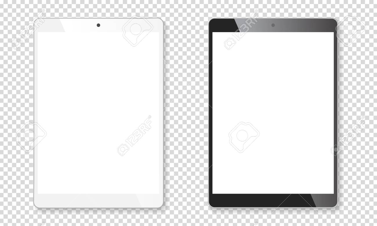 Realistic tablet portable pads set. Contemporary black and white mobile gadgets. Vector illustration - 112405828