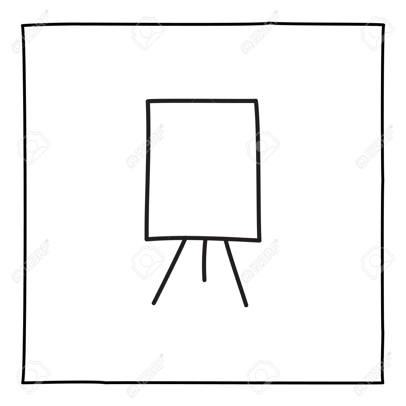 Doodle artist easel icon hand drawn with thin line in minimalistic style, display symbol isolated on white background. Vector illustration - 112405875