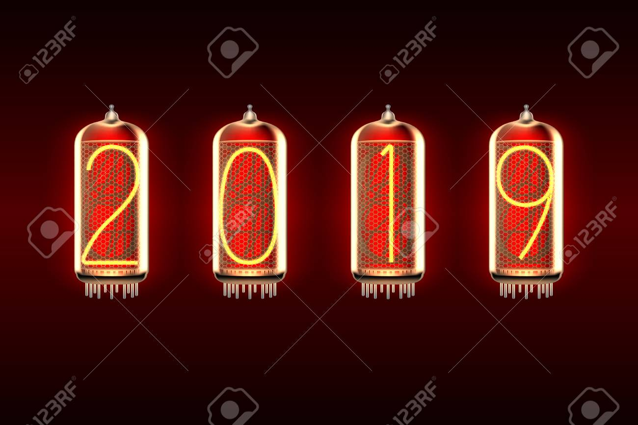 New Year Greeting Card With 2019 Lit Up In Retro Styled Nixie
