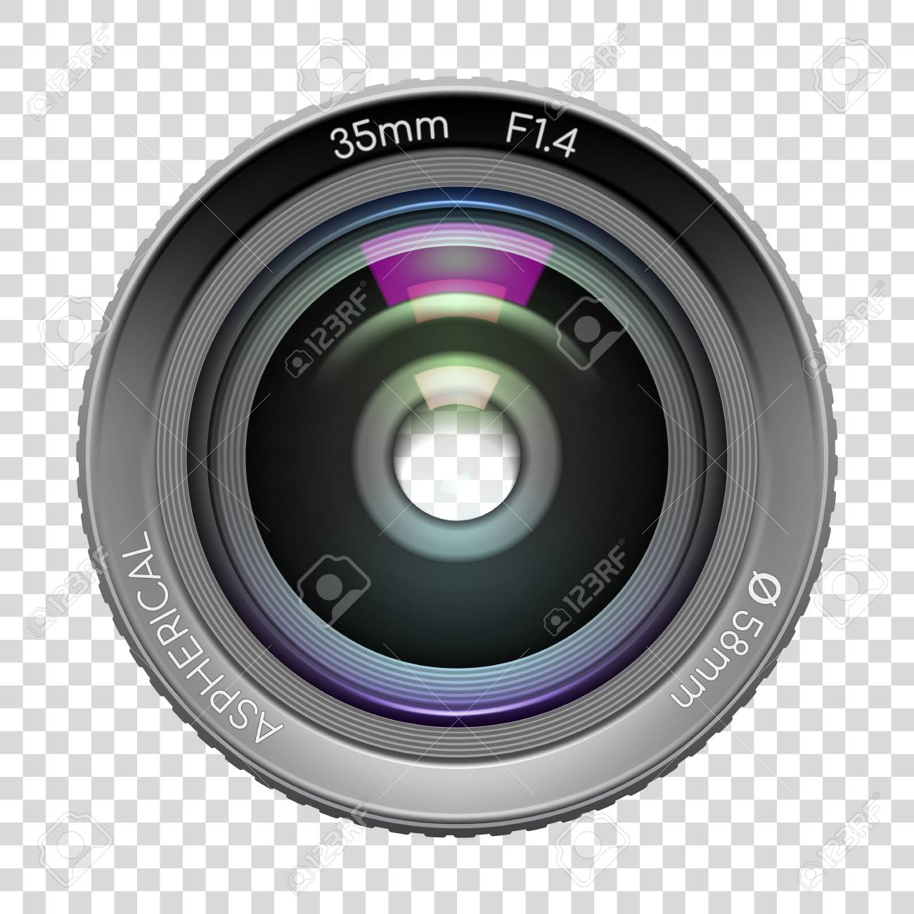 Highly Detailed Video Or Photo Camera Lens 35mm F1 4 Close Up Royalty Free Cliparts Vectors And Stock Illustration Image 124994389