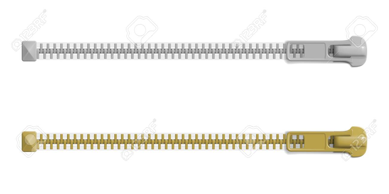 Set of closed zipper locks with different sizes, blank mockup. Realistic vector illustration - 124238029