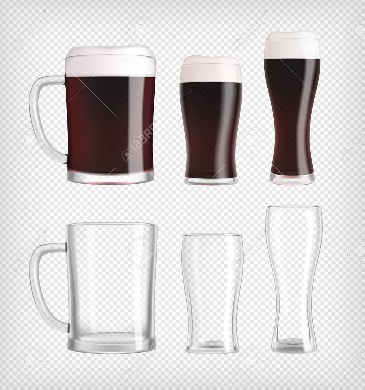 Three different dark beer glasses and mugs - 153092504