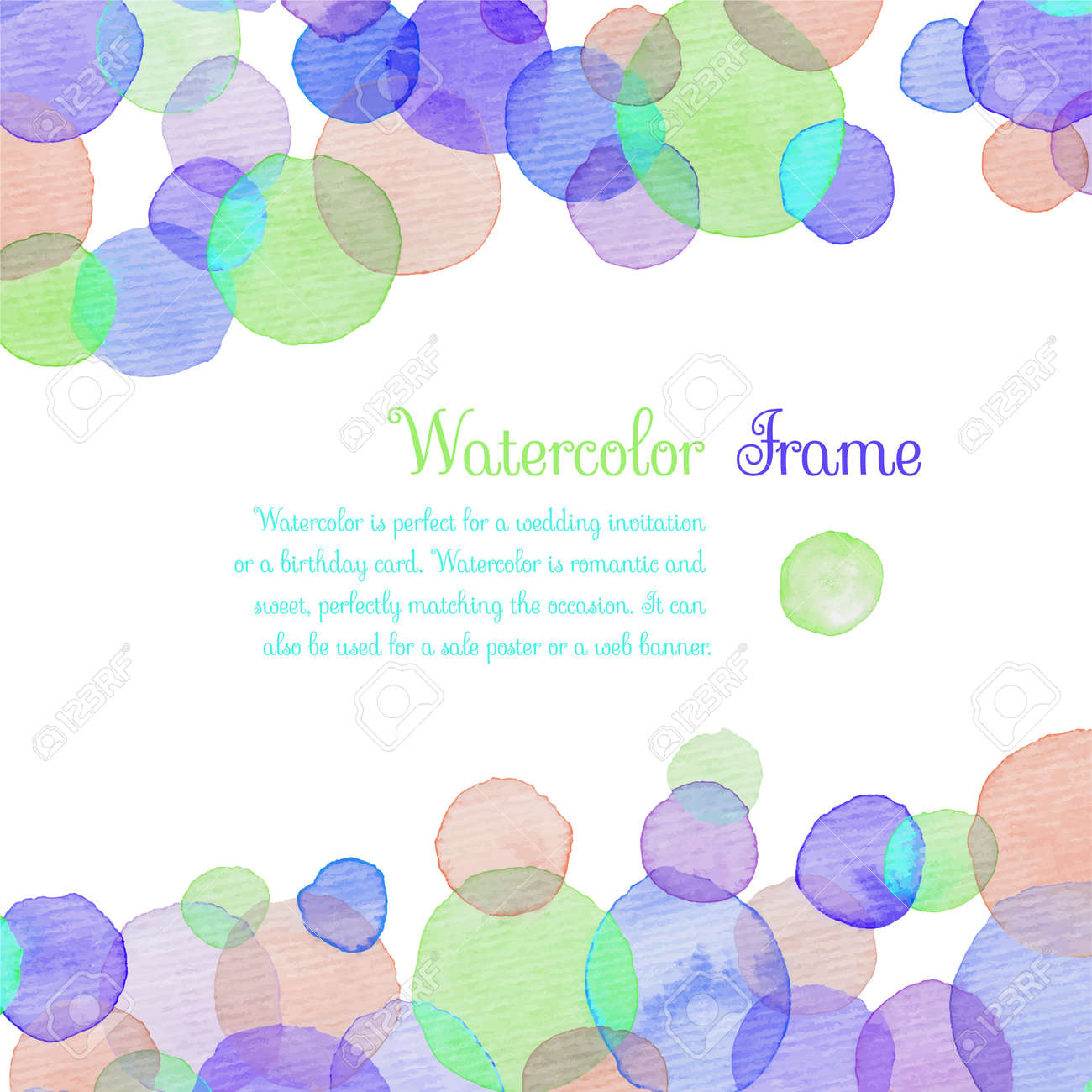 Watercolor banners greeting cards with colorful circle banners - 167020456