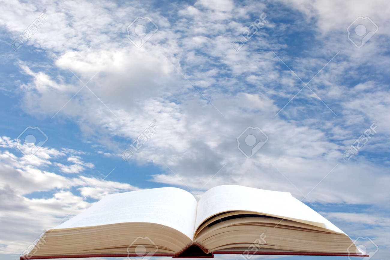 Open book and sky background Stock Photo - 12467896