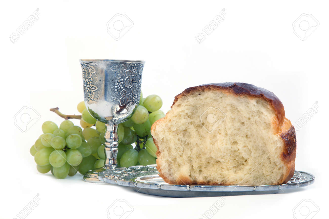 Holy Communion Bread And Cup With Wine Stock Photo Picture And