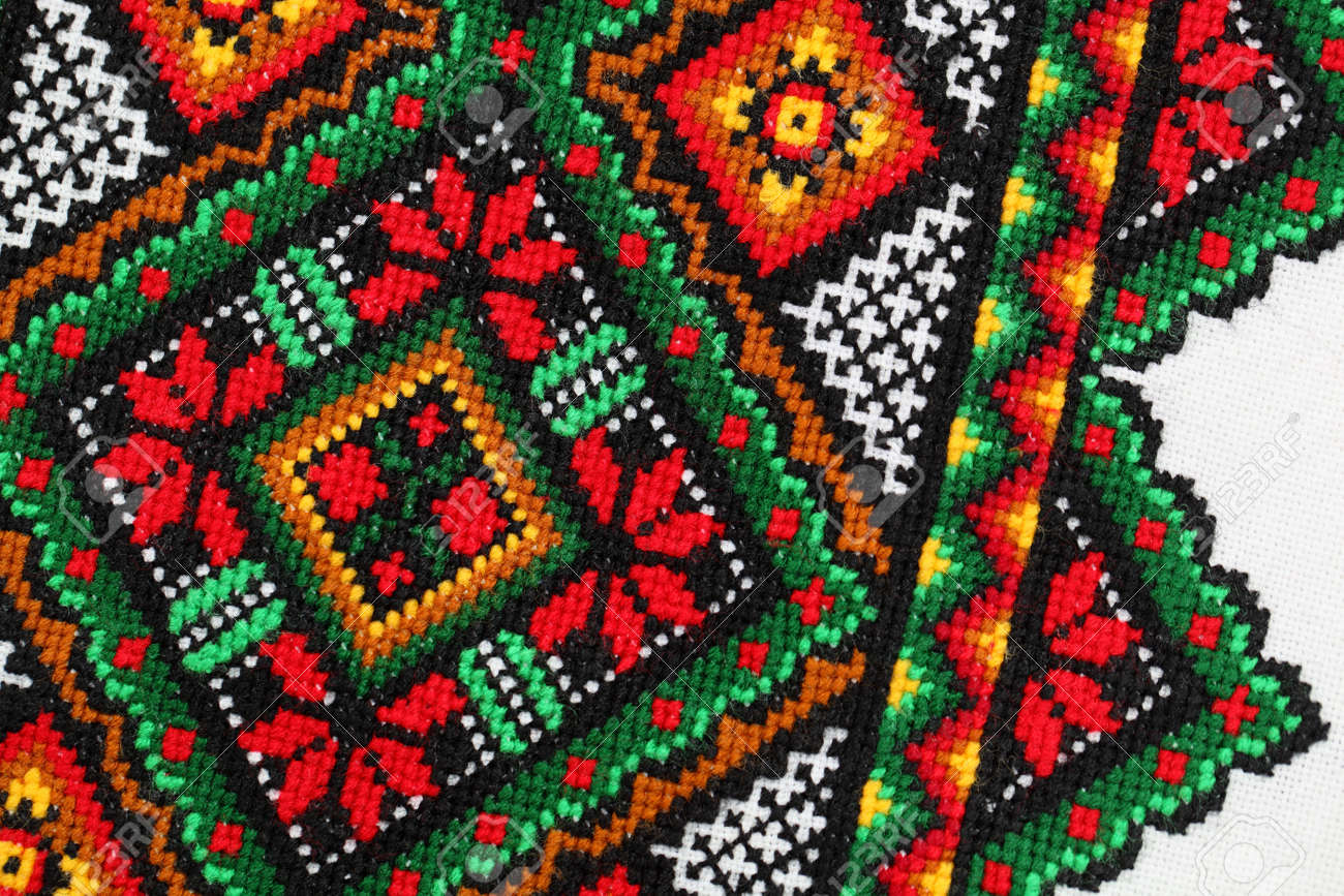 Detail Of The Yarn Embroidery From A Traditional Ukrainian Rushnyky  (ceremonial Towel) Stock