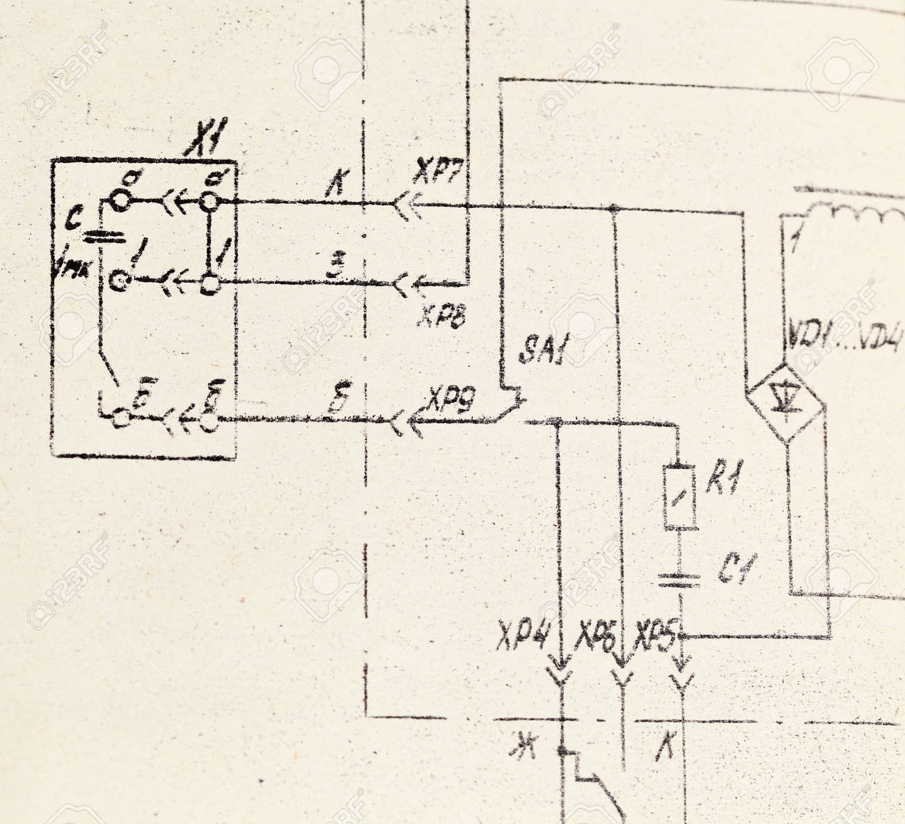 A Schematic Drawing. Good Background Stock Photo, Picture And ...