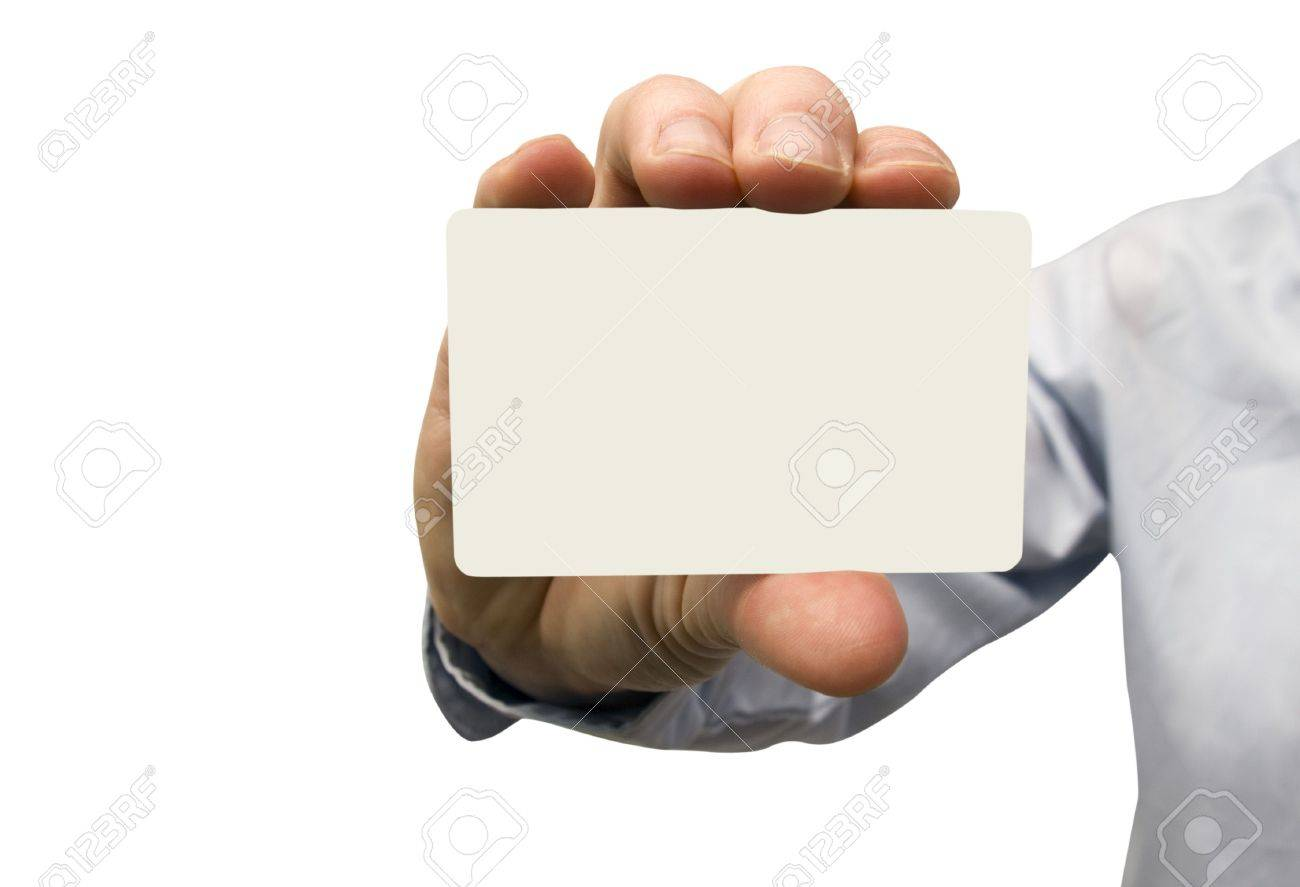 Man Hand Holding A Blank Business Card Stock Photo, Picture And ...
