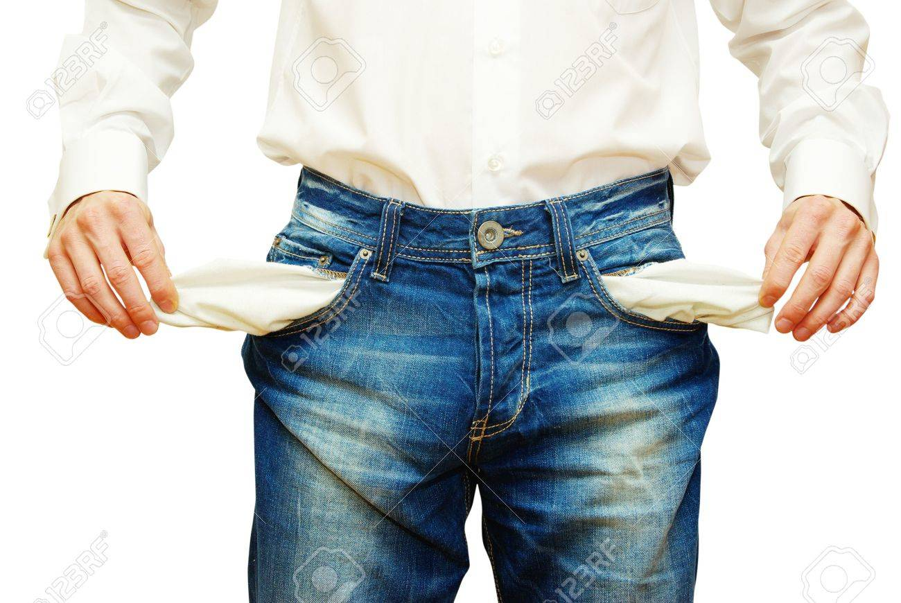 Businessman with empty pockets on white Stock Photo - 5728400