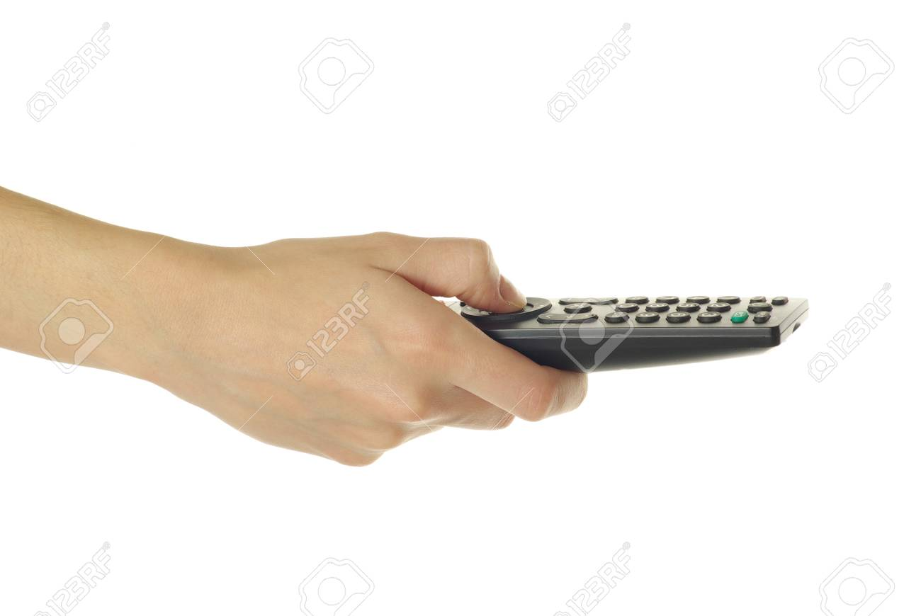 A hand holding a remote control isolated over a white background Stock Photo - 8419241
