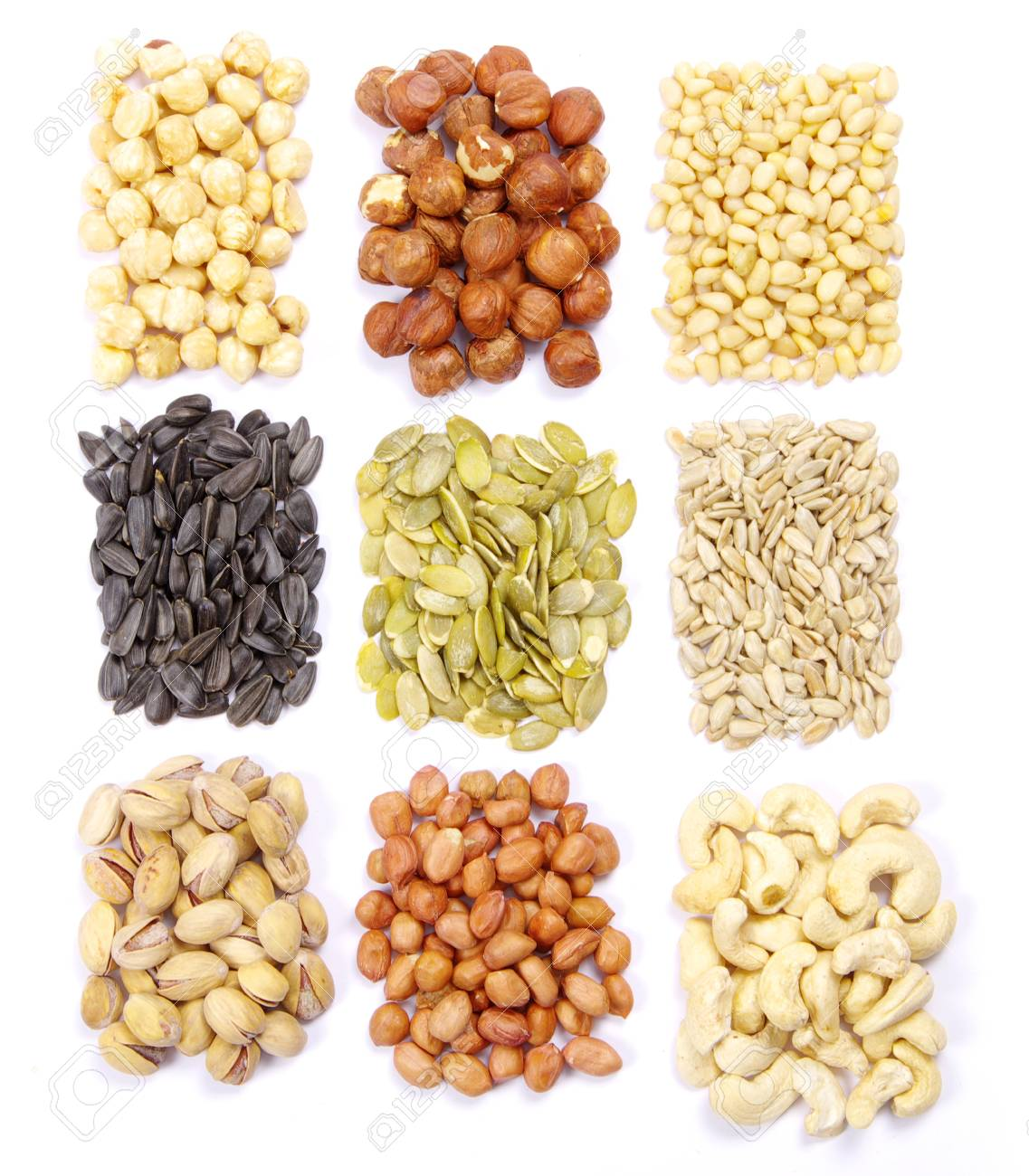 seeds and nuts with collection Stock Photo - 9215452