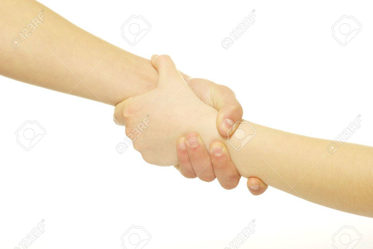 hand in a hand isolated on white - 9299148