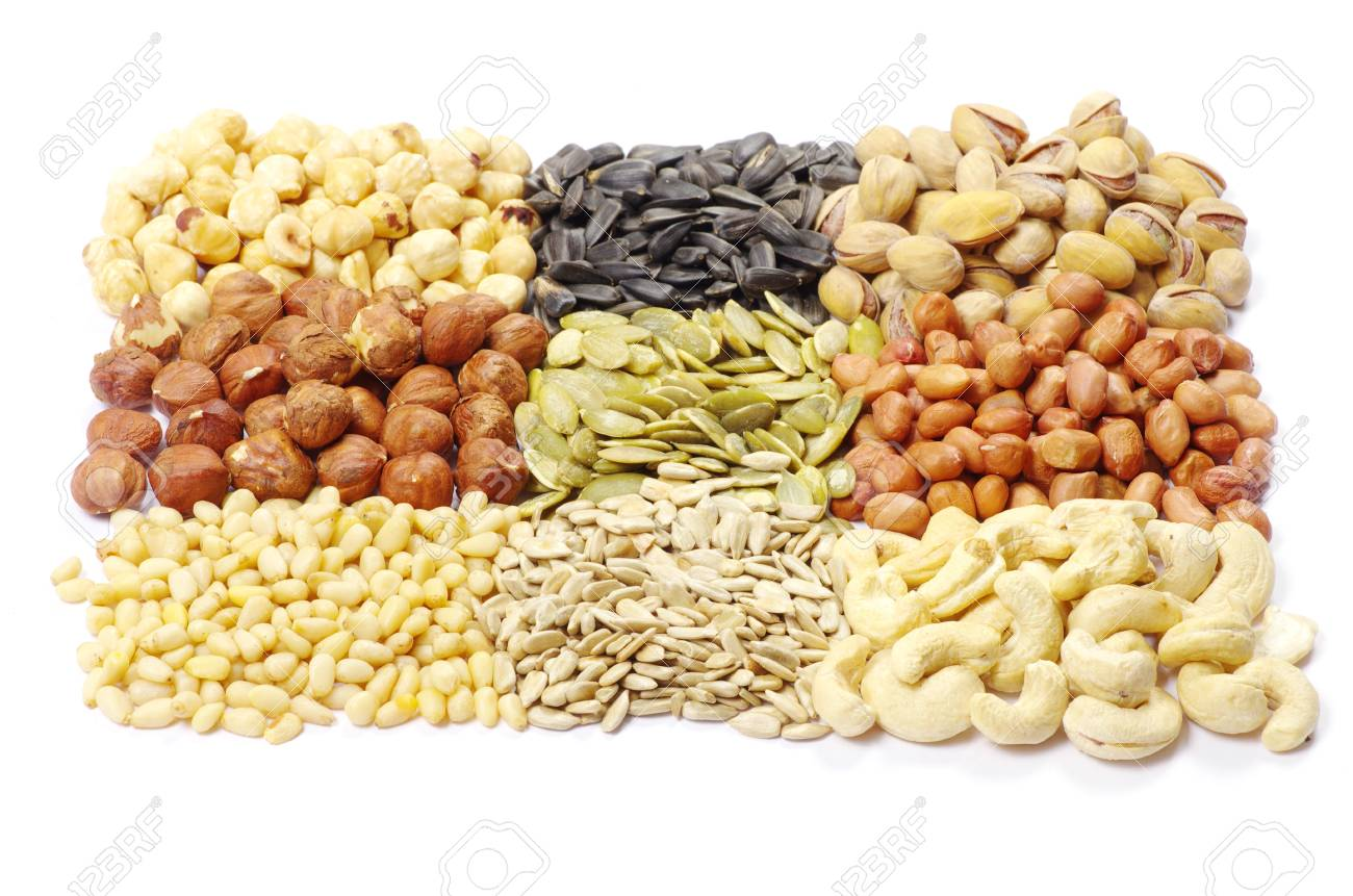 seeds and nuts with collection Stock Photo - 9435959