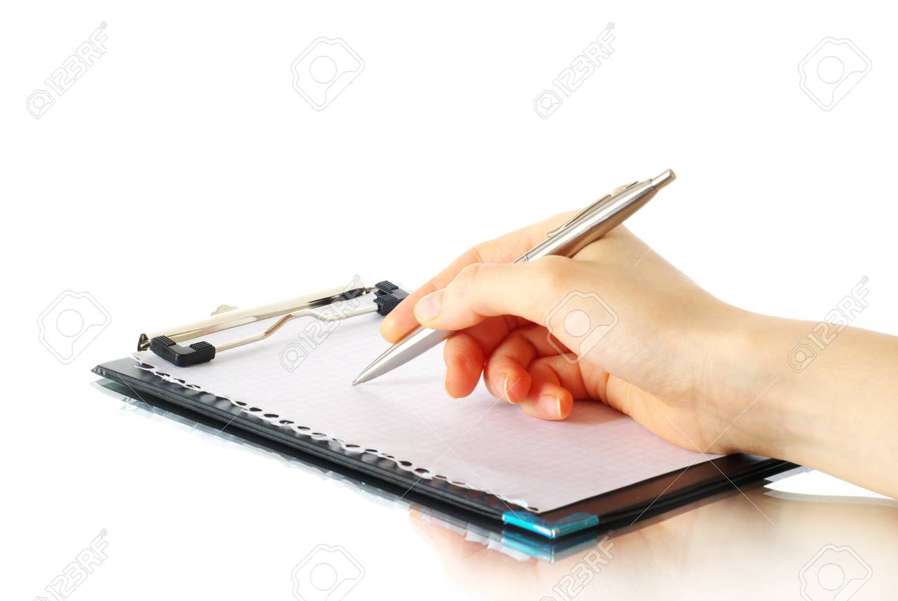 pen in hand isolated on wood background Stock Photo - 11142949