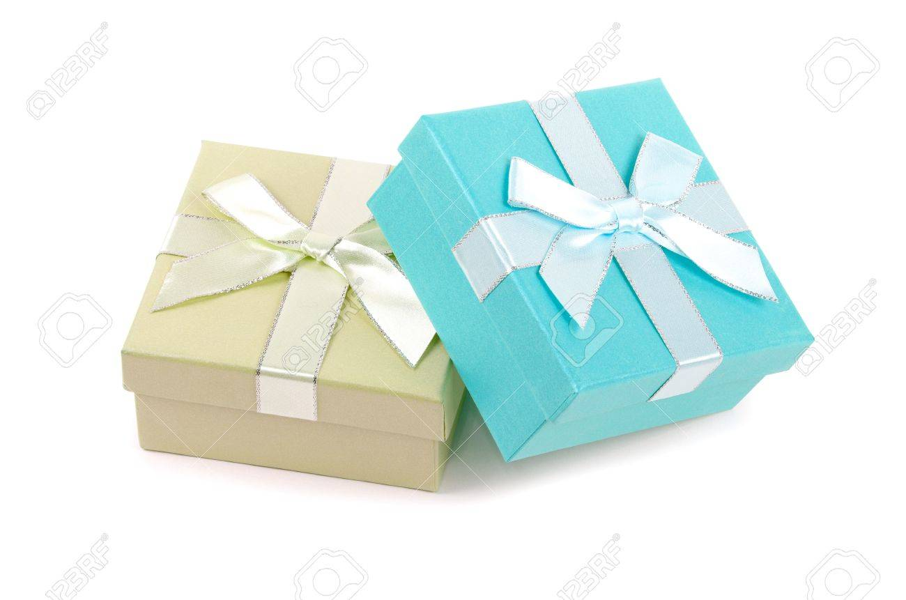 Christmas box gifts with satin bow isolated on white background Stock Photo - 15095006