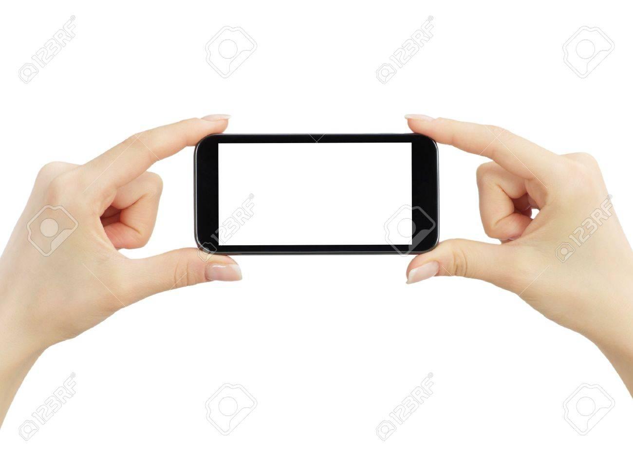 Hand holding big touchscreen smart phone Stock Photo - 15158335