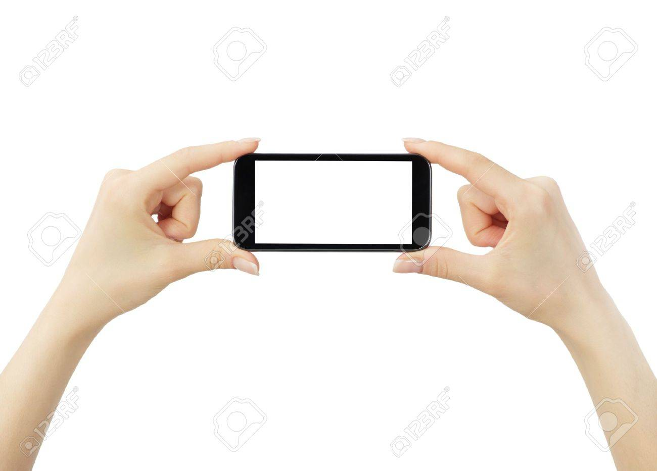 Hand holding big touchscreen smart phone Stock Photo - 15516601