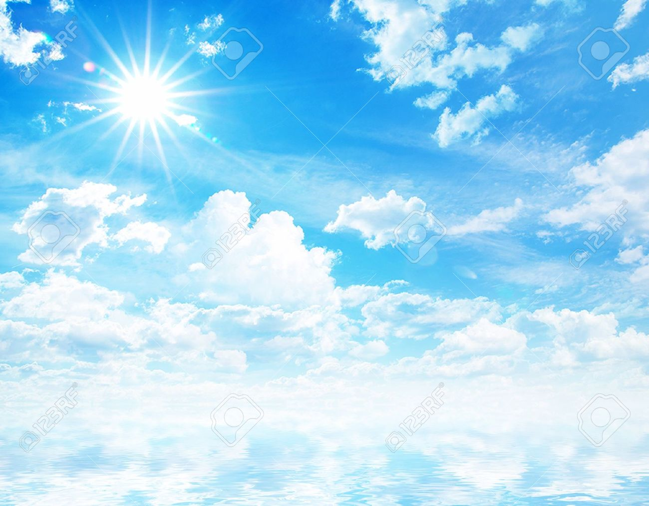 white fluffy clouds with rainbow in the blue sky Stock Photo - 15921476