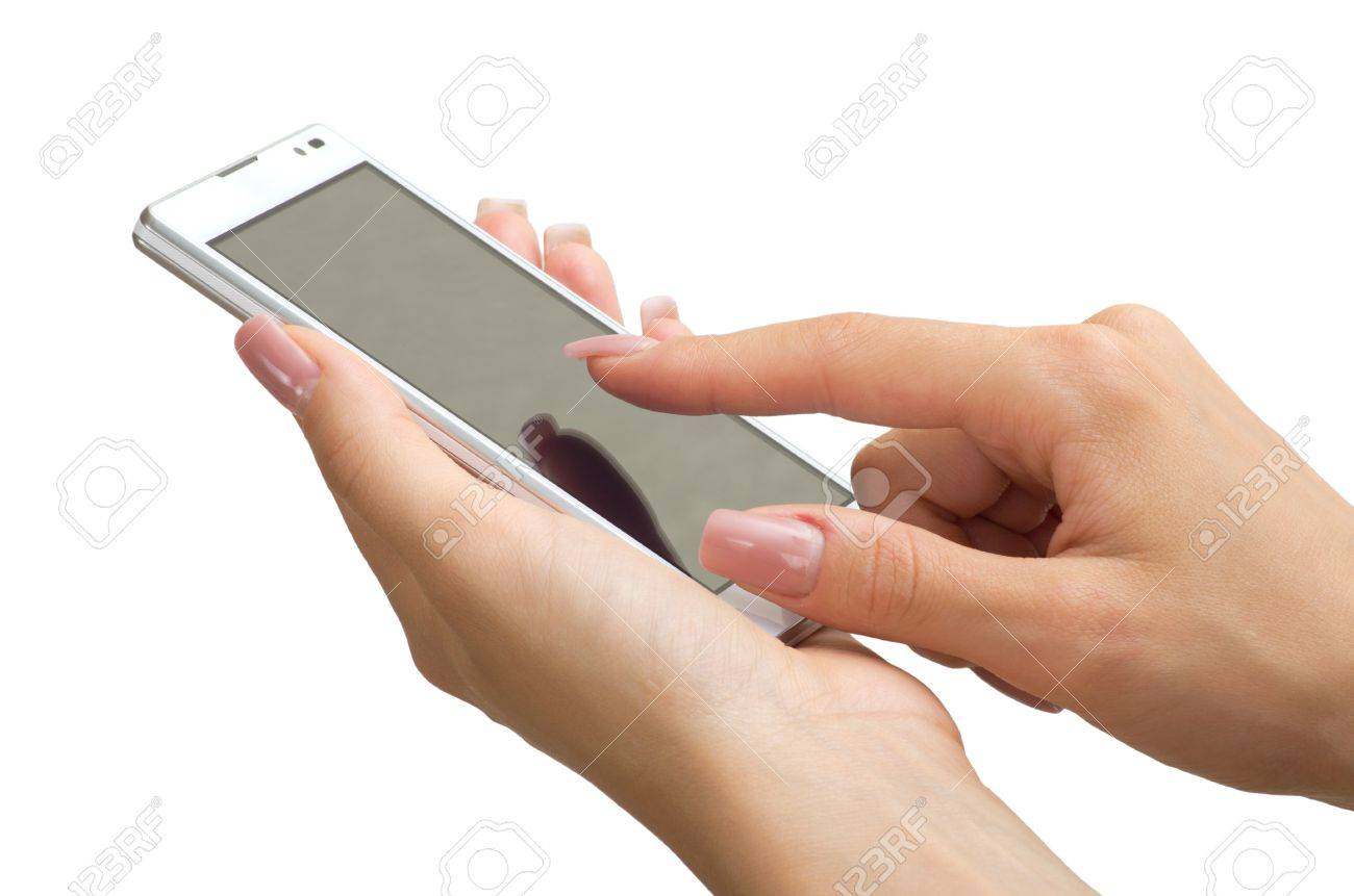 Hand holding mobile smart phone with blank screen Stock Photo - 18510590