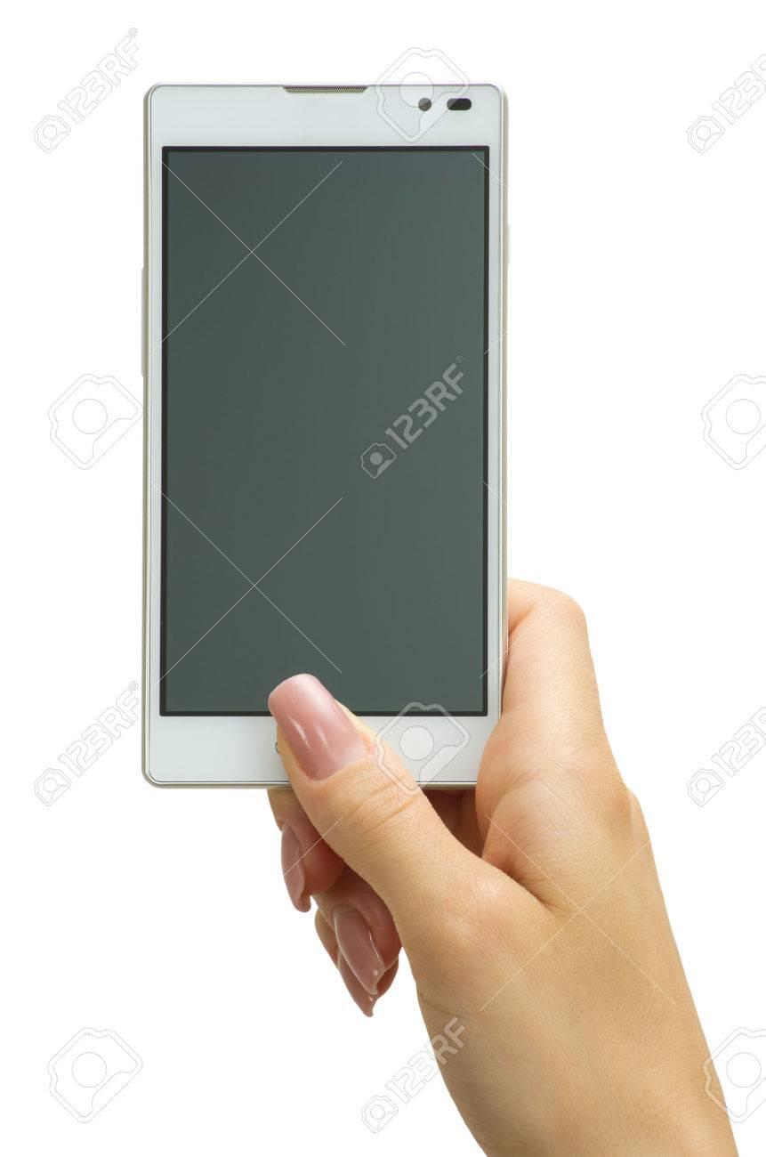 Hand holding big touchscreen smart phone Stock Photo - 22289833