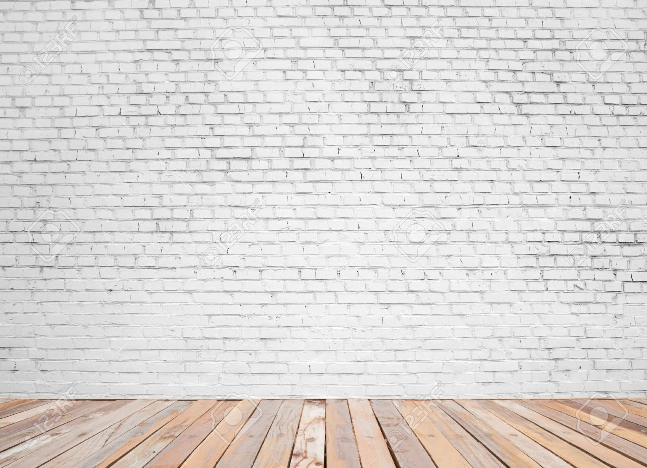 white brick wall and wood floor background stock photo 29142519